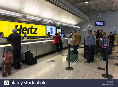 Hertz Car Hire Counter, Jfk Airport, New York, Usa Stock