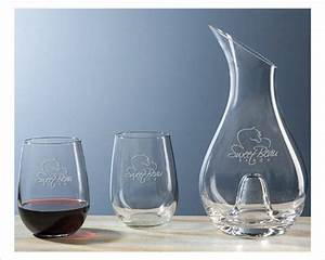 Classic, Engraved, Wine, Decanter, Gift, Set, 2, U2013, Stemless, Glasses