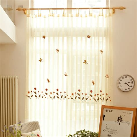 country embroidery beautiful wide striped sheer curtains