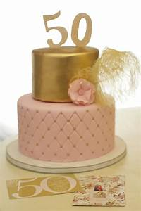 50th birthday cake with gold and pink   Beautiful cakes ...