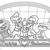 Coloring Sock Hop Baked Goods Stickers Pins Label Valentine Lovely sketch template