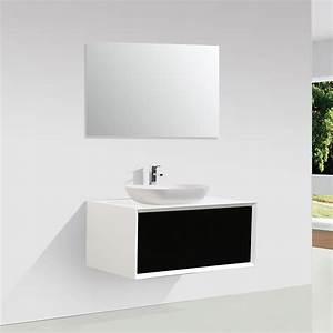 Meuble salle de bain simple vasque palio 90 cm blanc for Meuble salle de bain blanc mat