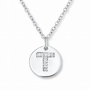 jared letter quottquot necklace 1 20 ct tw diamonds sterling With letter t necklace sterling silver