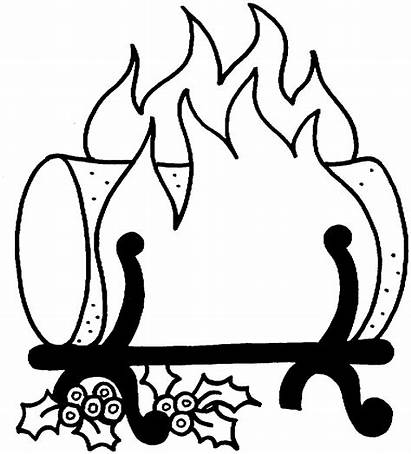 Fire Log Coloring Yule Clipart Pages Fireplace