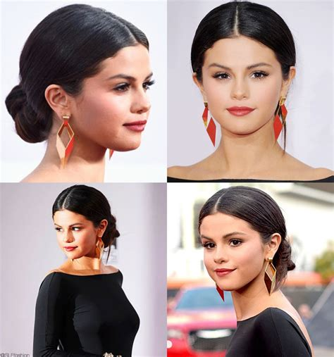 Throw in some bedazzled bobby pins for a fun flake, (we're digging the kitsch x justine marjan chain & bow bobby pin stacking set ($49). Selena Gomez in low bun Chignon updo Hairstyle at The ...