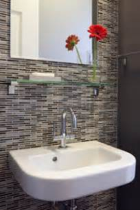 wall mounted sink  patterned tile