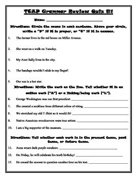 tcap state test grammar review packet 4th grade by