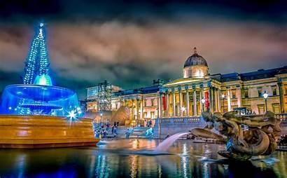 Trafalgar Square Night London Fountain Noche Fondo