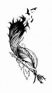 Dessin Fleche Tatouage : dit is een ontwerp van de tatoeage van een veer met een zwerm vogels uit uit te breiden frezen ~ Melissatoandfro.com Idées de Décoration