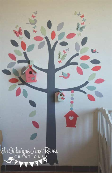 stickers arbre chambre bébé stickers arbre hibou oiseaux nichoirs papillons mint vert