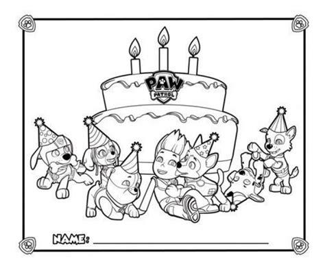 happy birthday  paw patrol coloring page printable