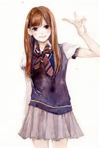 Cute Anime School Girl Uniform