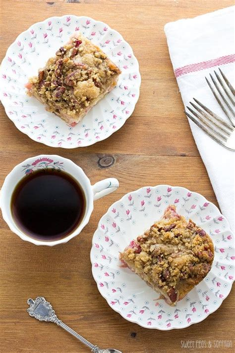 Find the full recipe at the bottom of this post. Rhubarb Coffee Cake with Nutmeg & Pecan Streusel   Recipe ...