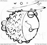 Blowfish Drunk Cartoon Clipart Coloring Cory Vector Outlined Thoman Regarding Notes sketch template