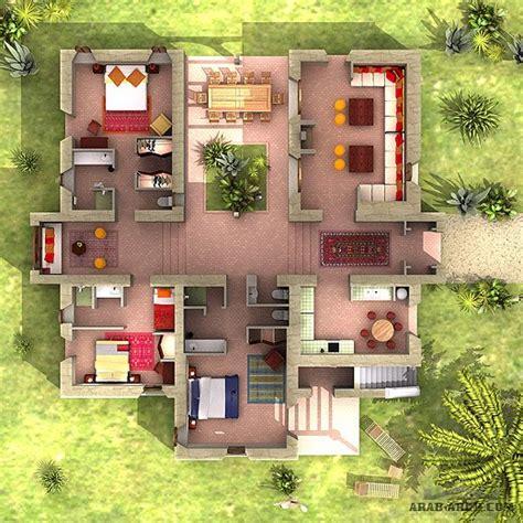 2 مخطط لبيت دور واحد وسط البيت غير مسقوف 187 arab arch