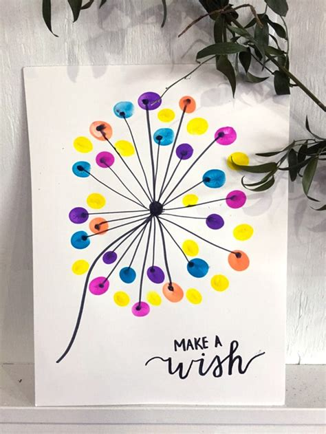 thumbprint dandelion art craft crayolacom
