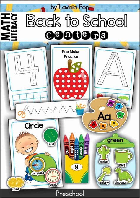 back to school preschool centers in my world 817 | Preschool Math and Literacy Back to School 724x1024
