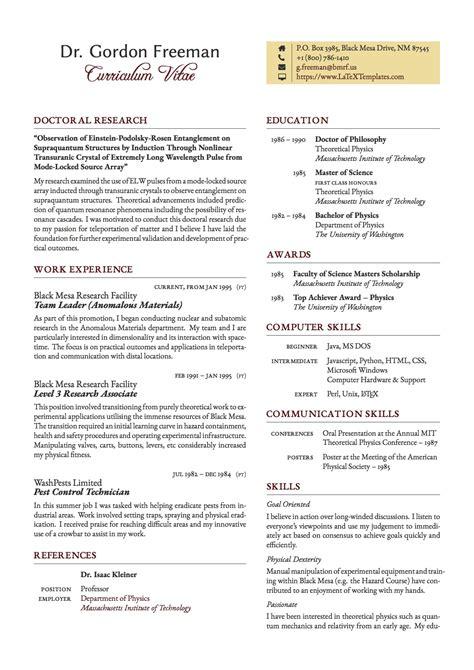 latex templates freeman curriculum vitae