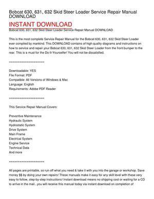 calam 233 o bobcat 630 631 632 skid steer loader service repair manual