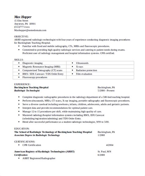 resume for radiologic technologist sle objectives for resume 8 exles in word pdf