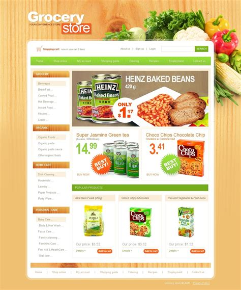 store template grocery store website template 25384
