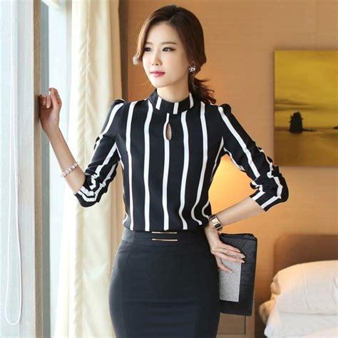 casual office women blouse striped chiffon blouse women