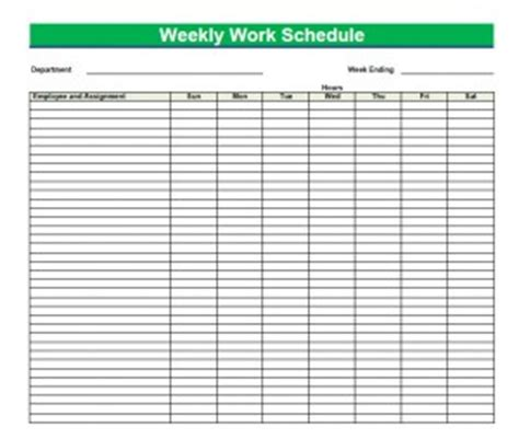 printable blank  weekly schedules blank  weekly