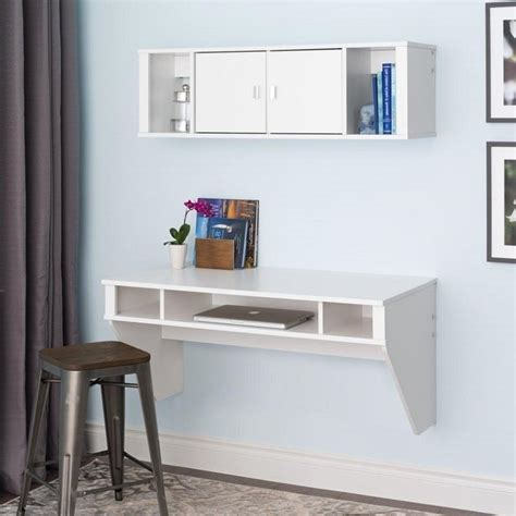 desk and hutch set designer floating desk and hutch set in white wrhw 0501 2m