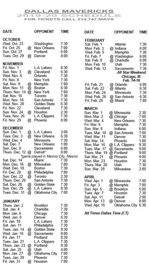 dallas mavericks printable schedule   basketball