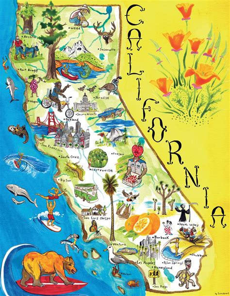 tourist illustrated map  california state california