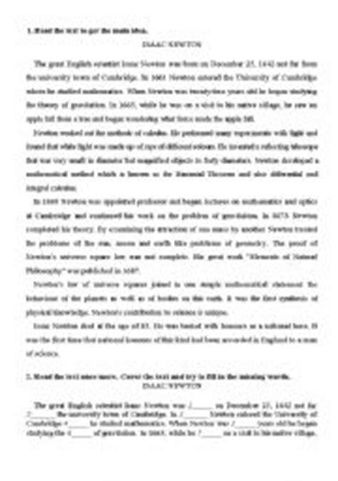 isaac newton biography worksheet teaching worksheets reading comprehension
