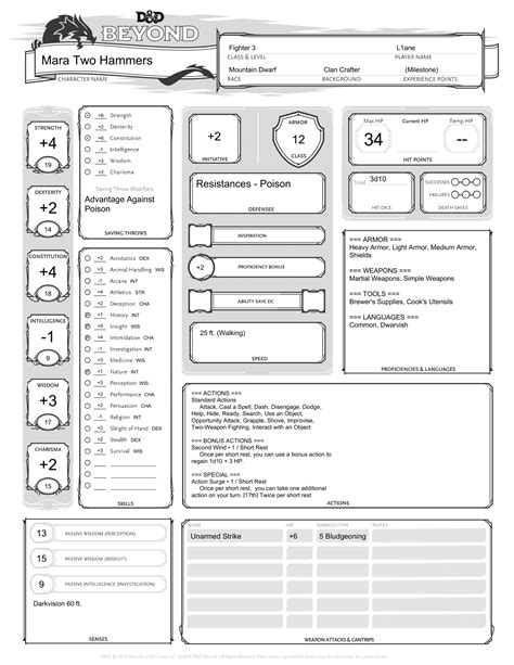 Astral Projections – Mara Two Hammers, Dwarf Fighter (D&D