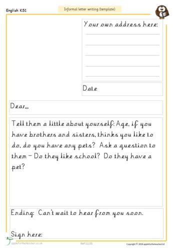 informal letter writing template apple   teacher