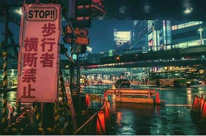 Japan Night Town Desktop Wallpapers Masashi Wakui