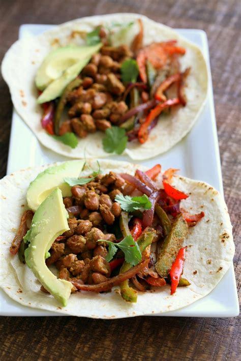 cuisine tofu pinto bean fajita tacos with cilantro chile lime marinade