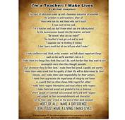 POSTER & POEM I'M A TEACHER I MAKE LIVES By Michael