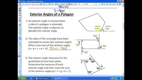 2 4 lesson 1 part a angle properties in polygons youtube