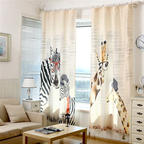 curtains zebra giraffe children linen for bedroom living