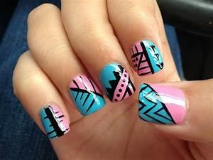Acrylic nail design nail art blue pink tribal | Nails ...