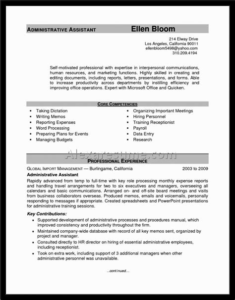 Exle Of Assistant Resume by Resume For Administrative Assistant Exle 28 Images 20 Free Administrative Assistant Resume