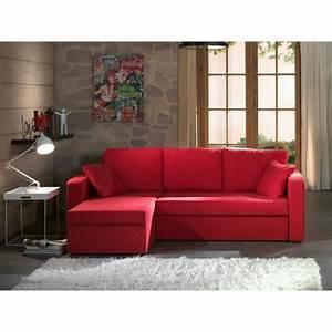 Canape Angle Rouge : photos canap d 39 angle convertible tissu rouge ~ Teatrodelosmanantiales.com Idées de Décoration