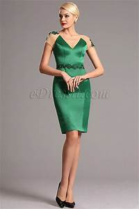edressit green v cut mother of the bride cocktail dress With robes habillees courtes
