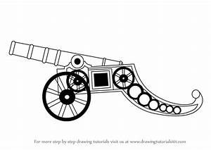 Learn How to Draw a Vintage Cannon (Artillery) Step by ...