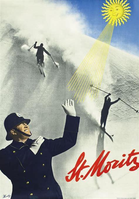 SWISS: Walter Herdeg Poster: St. Moritz, 1936. Herdeg ...
