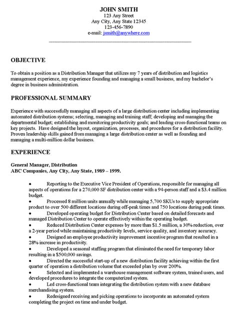 distribution manager executive resume exle resume