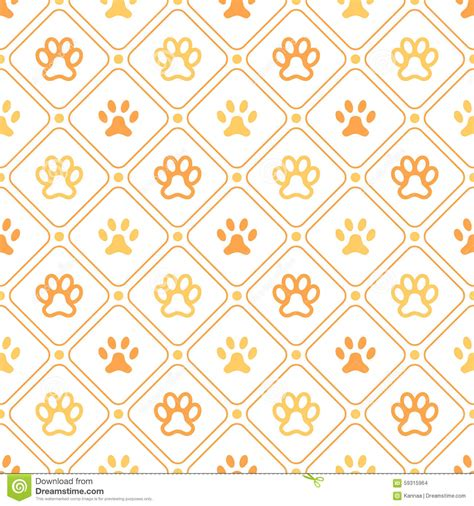 Printing Web Page Background Colors And Images Animal Seamless Pattern Of Paw Footprint Line Stock