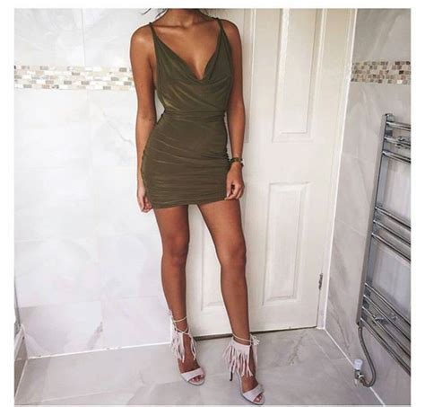 Dress green dress v neck dress party dress formal dress tumblr outfit tumblr dress ...