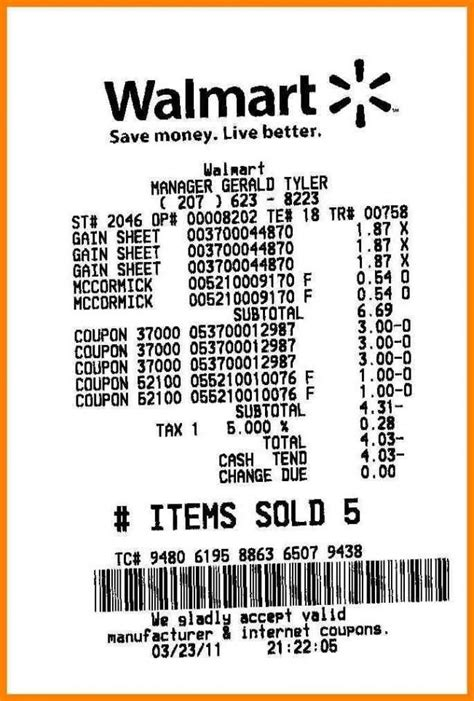 9 walmart receipt template new tech timeline