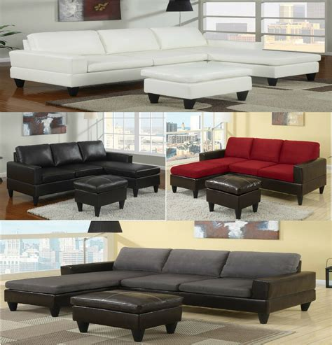 Free Sofas by Sectional Sofa In Microfiber And Leather W Free Ottoman