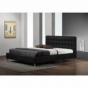 Lit design maxi simili cuir noir sommier 140x190 achat for Chambre à coucher adulte moderne avec matelas 160x200 epais